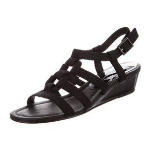 Donald J Pliner Wedge Sandal Black Patent 8 1/2